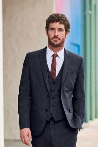Navy Wool Mix Textured Suit: Waistcoat