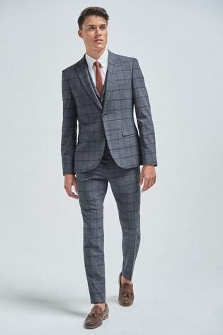 Mid Grey/Blue Windowpane Check Suit: Jacket