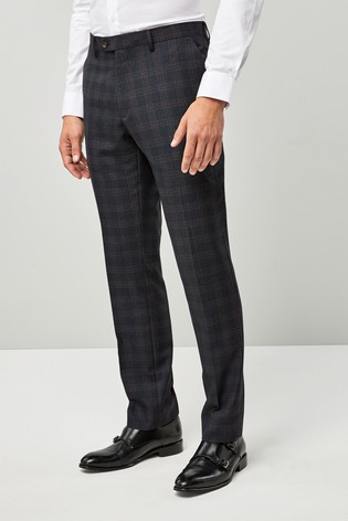 Blue/Tan Slim Fit Check Suit: Trousers