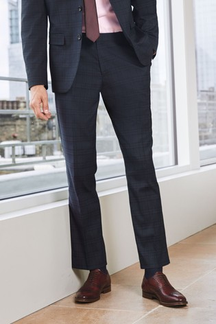 Navy/Red Slim Fit Check Suit: Trousers