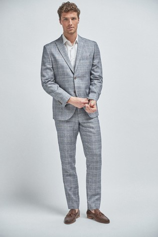 Light Blue Tailored Fit Linen Blend Check Suit: Jacket