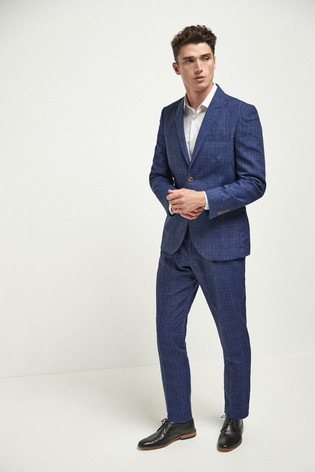 Bright Blue Slim Fit Linen Blend Check Suit: Jacket