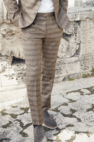 Stone Skinny Fit Linen Blend Check Suit: Trousers