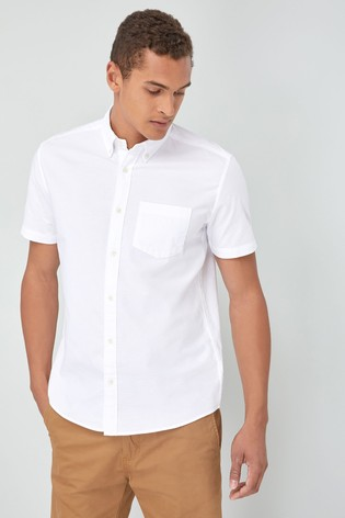 White Regular Fit Short Sleeve Oxford Shirt