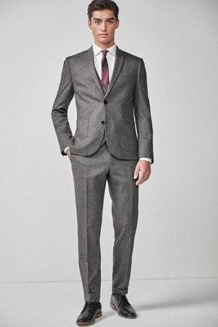 Grey Skinny Fit Herringbone Suit: Jacket