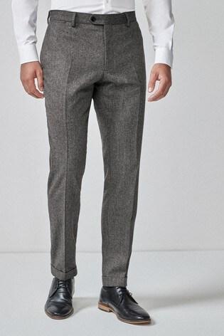 Grey Skinny Fit Herringbone Suit: Trousers