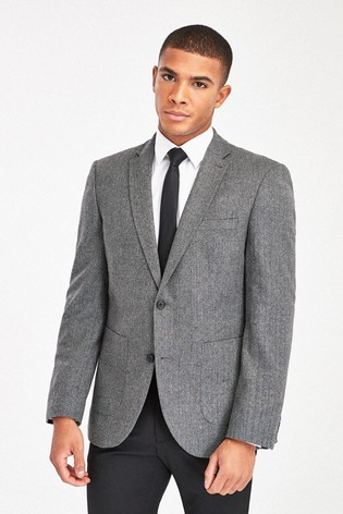 Grey Tailored Fit Herringbone Suit: Jacket