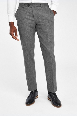 Grey Tailored Fit Herringbone Suit: Trousers