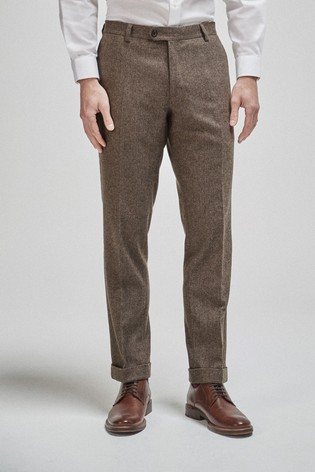 Brown Tailored Fit Herringbone Suit: Trousers
