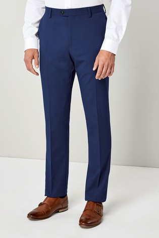 Mid Blue Slim Fit Wool Blend Stretch Suit: Trousers