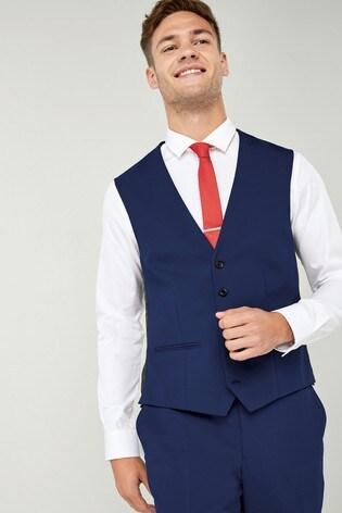 Mid Blue Wool Blend Stretch Suit: Waistcoat