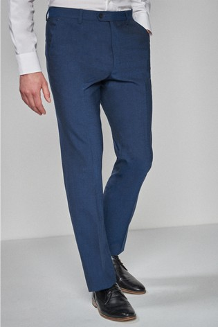 Bright Blue Regular Fit Wool Blend Stretch Suit: Trousers