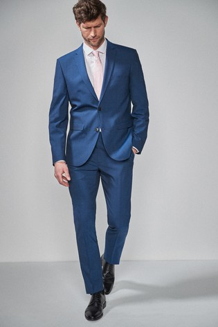 Bright Blue Tailored Fit Wool Blend Stretch Suit: Jacket