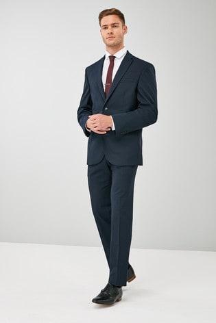Navy Regular Fit Wool Blend Stretch Suit: Jacket