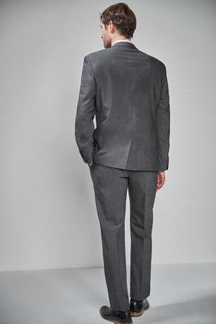 Charcoal Regular Fit Wool Blend Stretch Suit: Jacket