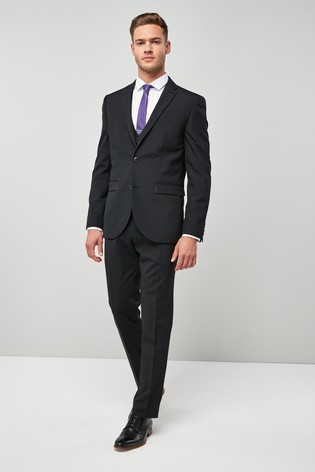 Black Regular Fit Wool Blend Stretch Suit: Jacket