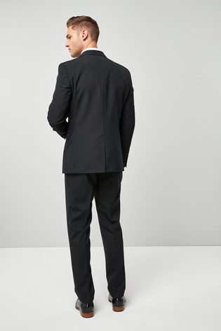 Black Regular Fit Wool Blend Stretch Suit: Jacket