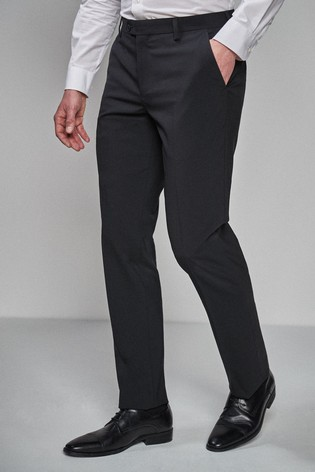 Black Tailored Fit Wool Blend Stretch Suit: Trousers