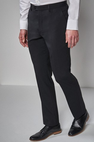 Black Regular Fit Wool Blend Stretch Suit: Trousers