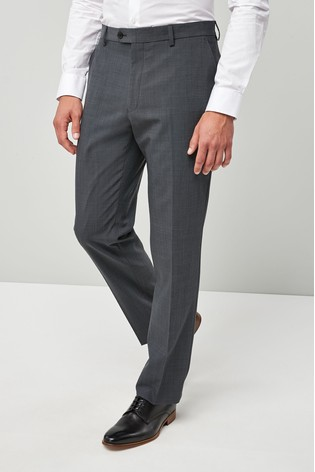 Charcoal Regular Fit Wool Blend Stretch Suit: Trousers