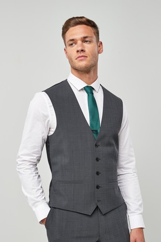 Charcoal Wool Blend Stretch Suit: Waistcoat