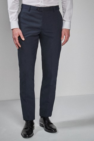 Navy Tailored Fit Wool Blend Stretch Suit: Trousers