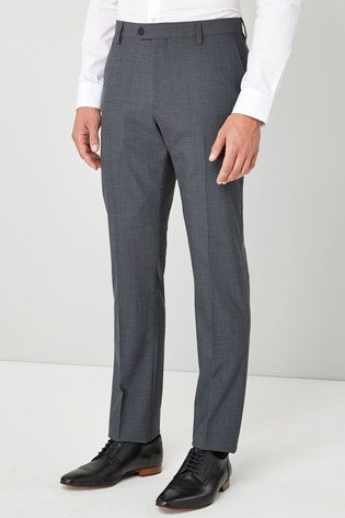 Charcoal Slim Fit Wool Blend Stretch Suit: Trousers