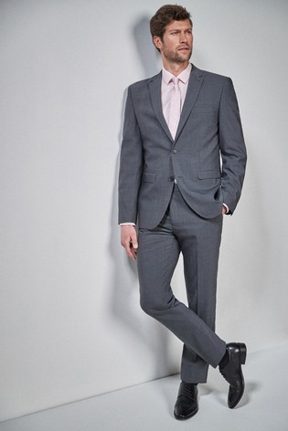 Charcoal Tailored Fit Wool Blend Stretch Suit: Jacket