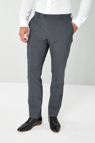 Charcoal Tailored Fit Wool Blend Stretch Suit: Trousers