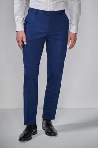 Mid Blue Tailored Fit Wool Blend Stretch Suit: Trousers