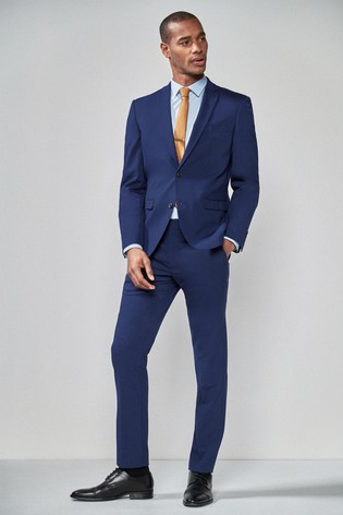 Mid Blue Slim Fit Wool Blend Stretch Suit: Jacket
