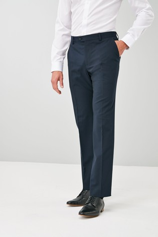 Navy Regular Fit Wool Blend Stretch Suit: Trousers