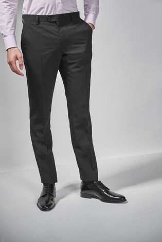 Black Slim Fit Wool Blend Stretch Suit: Trousers