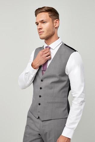 Light Grey Wool Blend Stretch Suit: Waistcoat
