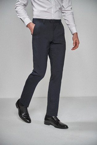 Navy Slim Fit Wool Blend Stretch Suit: Trousers