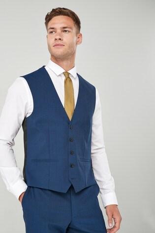 Bright Blue Wool Blend Stretch Suit: Waistcoat