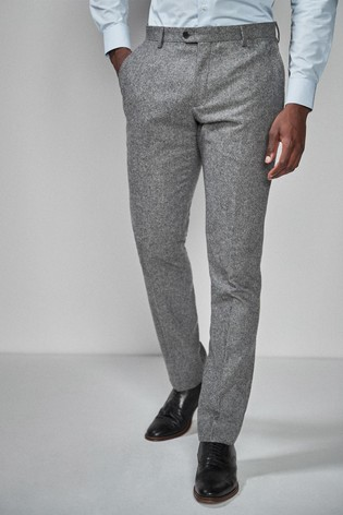 Grey Slim Fit Donegal Suit: Trousers