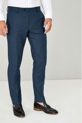 Bright Blue Slim Fit Flannel Suit: Trousers