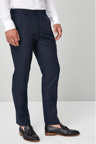 Navy Slim Fit Flannel Suit: Trousers