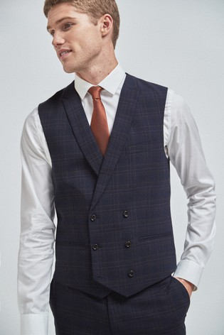 Navy/Brown Wool Blend Check Suit: Double Breasted Waistcoat