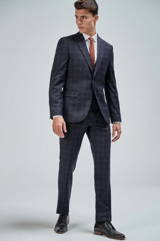 Navy/Light Blue Slim Fit Check Suit: Jacket