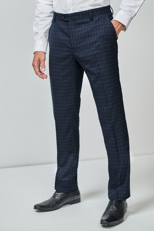 Navy Tailored Fit Wool Blend Check Suit: Trousers