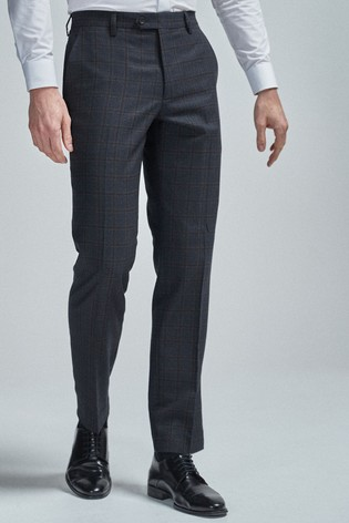 Navy/Tan Regular Fit Wool Blend Check Suit: Trousers