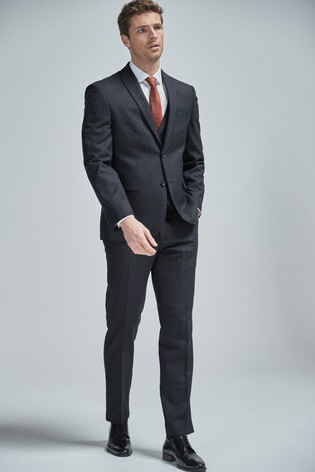 Navy/Tan Regular Fit Wool Blend Check Suit: Jacket