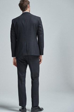 Navy/Tan Regular Fit Wool Blend Check Suit: Jacket