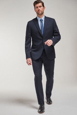 Navy Tailored Fit 100% Wool Suit: Jacket