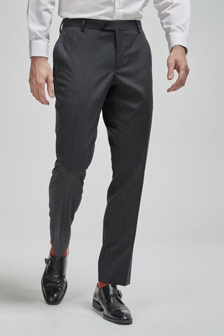 Charcoal Tailored Fit 100% Wool Suit: Trousers