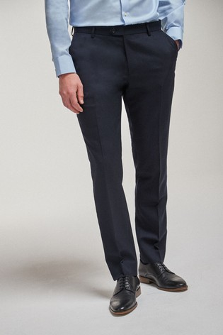 Navy Tailored Fit 100% Wool Suit: Trousers
