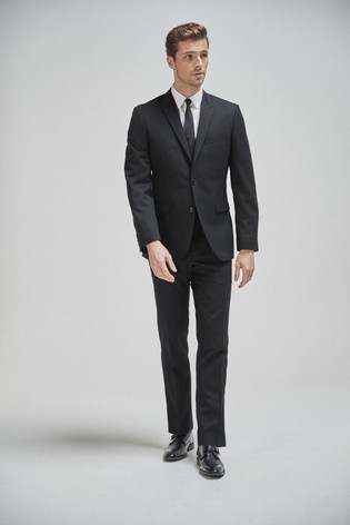 Black Tailored Fit 100% Wool Suit: Jacket