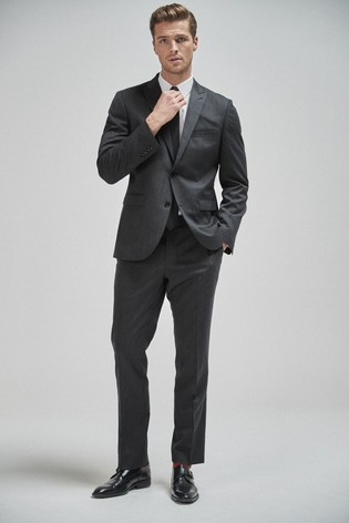 Charcoal Tailored Fit 100% Wool Suit: Jacket